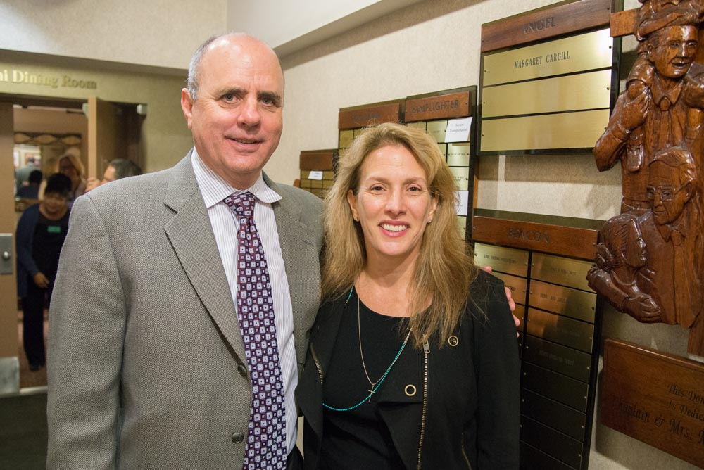 Secure Transportation CEO Steve Dobbs and Vice President Anne Marin being honored at the Legacy Wall.